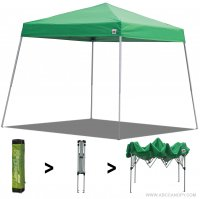 AbcCanopy Commercial Ez Pop Up Canopy Tent 10x10 Slant Leg Instant Canopy With Carry Bag Bonus Weight Bag(Kelly Green)