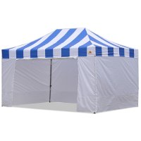 AbcCanopy Carnival Canopy 10x15 Blue With White Walls Ez Part Tent Bouns 6 Wall
