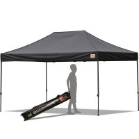 AbcCanopy 10x15 Deluxe Black Pop Up Canopy With Roller Bag