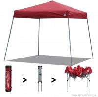 AbcCanopy Commercial Ez Pop Up Canopy Tent 10x10 Slant Leg Instant Canopy With Carry Bag Bonus Weight Bag(Red)