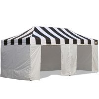 AbcCanopy Carnival Canopy 10x20 Black With White Walls Ez Part Tent Bouns 9 Wall