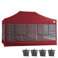 10X15 AbcCanopy Deluxe Burgundy Food Vendor PackageTent with Roller Bag