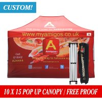 AbcCanopy Full Digital printed 10x15 Custom Canopy Gazebo with back wall
