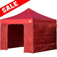 AbcCanopy 10x10 Burgundy Deluxe Ez Pop Up Canopy Package
