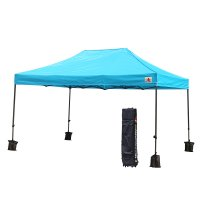 AbcCanopy 10x15 Deluxe Sky Blue Pop Up Canopy With Roller Bag