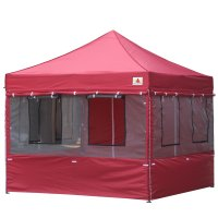 10X10 AbcCanopy Deluxe Burgundy Food Vendor PackageTent with Roller Bag-2