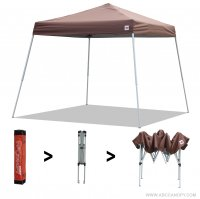 AbcCanopy Commercial Ez Pop Up Canopy Tent 10x10 Slant Leg Instant Canopy With Carry Bag Bonus Weight Bag(Brown)