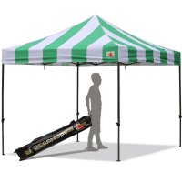 AbcCanopy Carnival 10X10 Green And White Pop Up Canopy Popcorn Cotton Candy Vending Tent