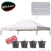 AbcCanopy 10x15 Pop Up Canopy Replacement Top 100% waterproof - Come with 4 Weight Bag