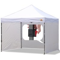 ABCCANOPY White RHINO-series EZ Pop Up Canopy With Full With,Roller Bag,bouns 2Pcs Half Walls (White)