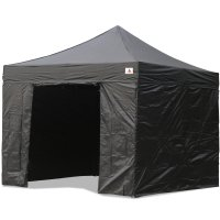 AbcCanopy 10x10 Deluxe Black Ez Pop Up Canopy Package