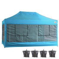 10X15 AbcCanopy Deluxe Sky Blue Food Vendor PackageTent with Roller Bag