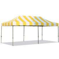 AbcCanopy Carnival 10X20 Yellow And White Pop Up Canopy Popcorn Cotton Candy Vending Tent