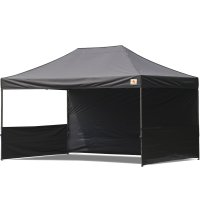AbcCanopy 10x15 Deluxe Black Pop Up Canopy Trade Show Both