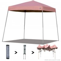AbcCanopy Commercial Ez Pop Up Canopy Tent 10x10 Slant Leg Instant Canopy With Carry Bag Bonus Weight Bag(Pink)