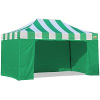 AbcCanopy Carnival Canopy 10x15 Green With Green Walls Ez Part Tent Bouns 6 Wall
