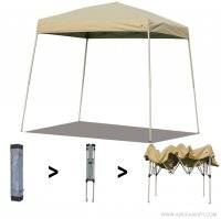 AbcCanopy Commercial Ez Pop Up Canopy Tent 10x10 Slant Leg Instant Canopy With Carry Bag Bonus Weight Bag(Beige)