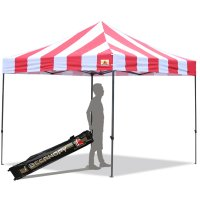 AbcCanopy Carnival 10X10 Red And White Pop Up Canopy Popcorn Cotton Candy Vending Tent