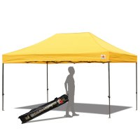 AbcCanopy 10x15 Deluxe Gold Pop Up Canopy With Roller Bag