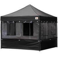10X10 AbcCanopy Deluxe Black Food Vendor PackageTent with Roller Bag