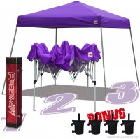 AbcCanopy Commercial Ez Pop Up Canopy Tent 10x10 Slant Leg Instant Canopy With Carry Bag Bonus Weight Bag