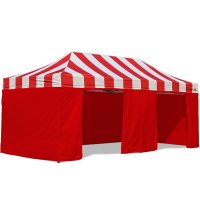 AbcCanopy Carnival Canopy 10x20 Red With Red Walls Ez Part Tent Bouns 9 Wall