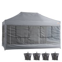10X15 AbcCanopy Deluxe Gray Food Vendor PackageTent with Roller Bag