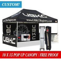 AbcCanopy 10x15 Pop up Canopy Printed Custom Tent Booth with Backwall and Wheeled Bag