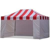 AbcCanopy Carnival Canopy 10x15 Red With White Walls Ez Part Tent Bouns 6 Wall