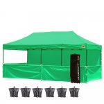 AbcCanopy 10x20 Deluxe Kelly Green Pop Up Canopy Trade Show Both