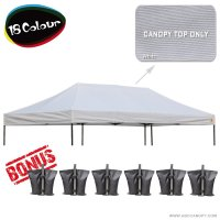 AbcCanopy 10x20 Pop Up Canopy Replacement Top 100% waterproof - Come with 4 Weight Bag