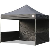 AbcCanopy 10x10 Deluxe Black Pop Up Canopy Trade Show Both