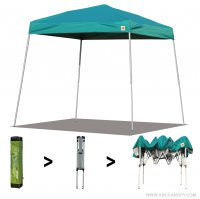 AbcCanopy Commercial Ez Pop Up Canopy Tent 10x10 Slant Leg Instant Canopy With Carry Bag Bonus Weight Bag(Turquoise)