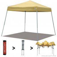 AbcCanopy Commercial Ez Pop Up Canopy Tent 10x10 Slant Leg Instant Canopy With Carry Bag Bonus Weight Bag(Yellow)