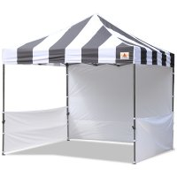 AbcCanopy Carnival 10x10 Black With White Walls Pop Up Tent Trade Show Booth Canopy W/ Wheeled bag
