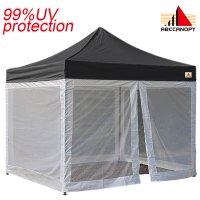 AbcCanopy Commercial Pop Up Canopy Screen Room 10x10 Canopies With Mesh Walls-Black