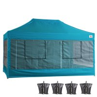 10X15 AbcCanopy Deluxe Turquoise Food Vendor PackageTent with Roller Bag