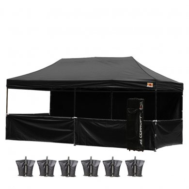 AbcCanopy 10x20 Deluxe Black Pop Up Canopy Trade Show Both