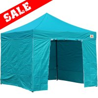 AbcCanopy 10x10 Turquoise Deluxe Ez Pop Up Canopy Package