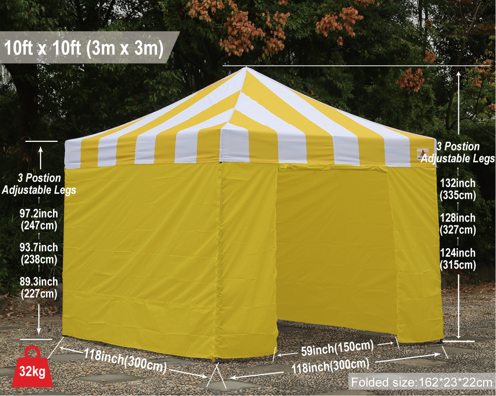 Abccanopy Carnival Canopy 10x10 Yellow With Yellow Walls