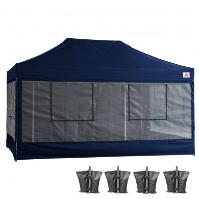 10X15 AbcCanopy Deluxe Navy Blue Food Vendor PackageTent with Roller Bag