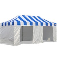 AbcCanopy Carnival Canopy 10x20 Blue With White Walls Ez Part Tent Bouns 9 Wall