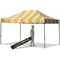 AbcCanopy Carnival 10X15 Yellow And White Pop Up Canopy Popcorn Cotton Candy Vending Tent