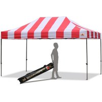 AbcCanopy Carnival 10X15 Red And White Pop Up Canopy Popcorn Cotton Candy Vending Tent