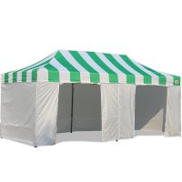 AbcCanopy Carnival Canopy 10x20 Green With White Walls Ez Part Tent Bouns 9 Wall