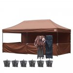 AbcCanopy 10x20 Deluxe Brown Pop Up Canopy Trade Show Both