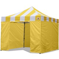 AbcCanopy Carnival Canopy 10x10 Yellow With Yellow Walls Ez Part Tent Bouns 6 Walls