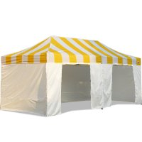 AbcCanopy Carnival Canopy 10x20 Yellow With White Walls Ez Part Tent Bouns 9 Wall