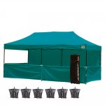 AbcCanopy 10x20 Deluxe Turquoise Pop Up Canopy Trade Show Both