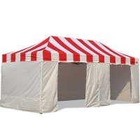 AbcCanopy Carnival Canopy 10x20 Red With White Walls Ez Part Tent Bouns 9 Wall